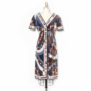 Emilio Pucci Kaleidoscope Print Cotton Velvet Dress