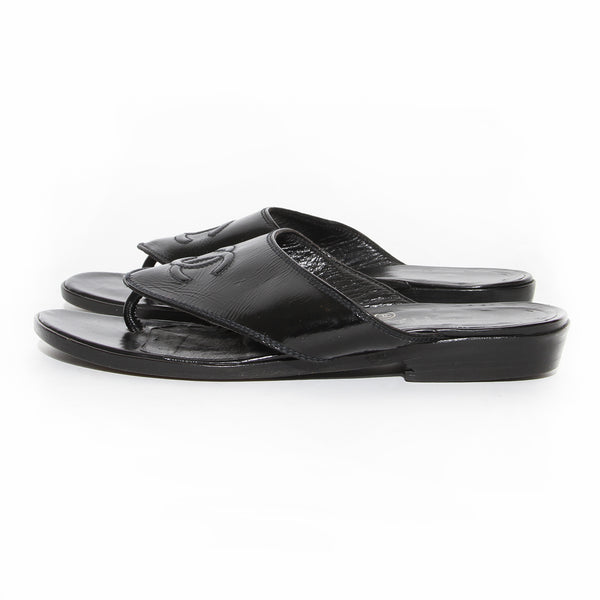 Chanel Black Patent Leather Logo Sandal