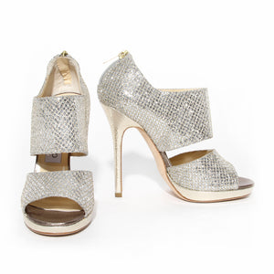 Jimmy Choo Silver Glitter Private Sandal Heel