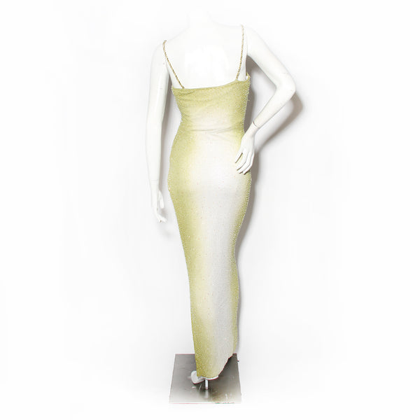 H Halston Lime Green Ombré Beaded Gown