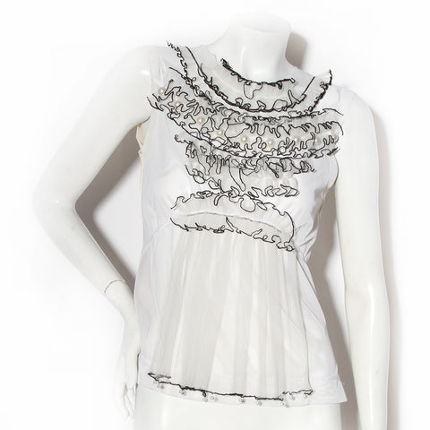 Marc Jacobs White Ruffle and Pearl Blouse