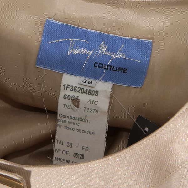 Thierry Mugler Couture Glitter Tan Fitted Blazer