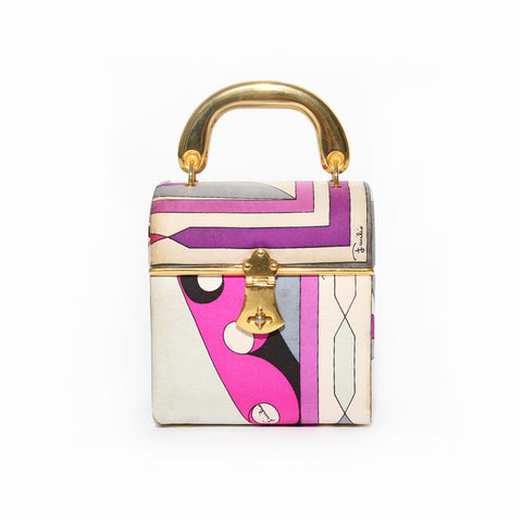 Emilio Pucci Pink and Purple Silk Print Box Handbag