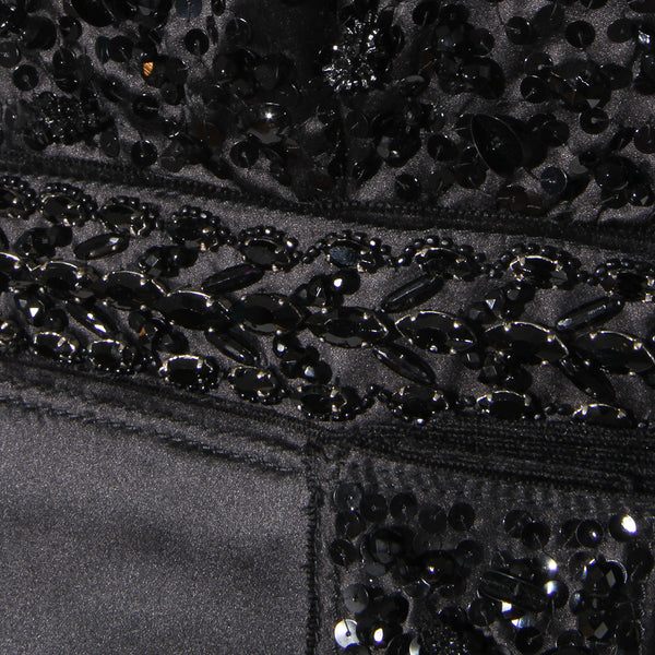 Prada Black Satin with Bead Embellishment Strapless Dress FW2004