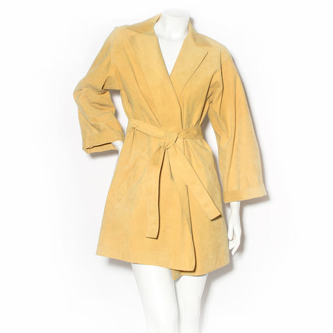 Halston Yellow Ultrasuede Trench Coat