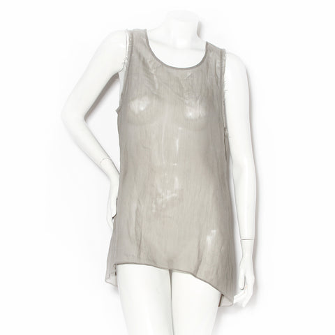 Helmut Lang Grey Chiffon Distress Tank Top