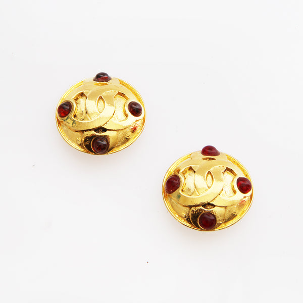 Chanel CC Ruby Earrings