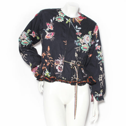Etro Navy Cotton Floral Print Peplum Jacket