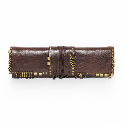 Yves Saint Laurent Brown Leather Long Clutch with Brass Rings SS2002