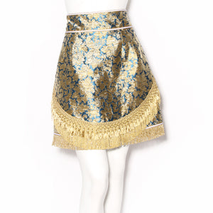Dolce & Gabbana Gold Floral Brocade and Fringe Skirt