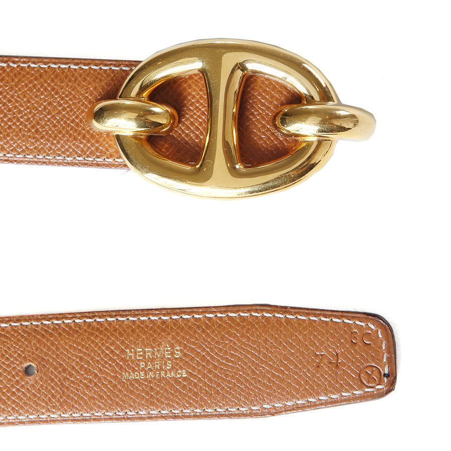 Leather Belt with Gold Hardware