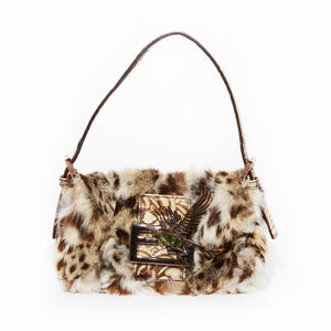Fendi Ocelot Print Fur Mini Baguette with Bird Clasp