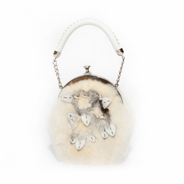 Fendi Ivory Rabbit Fur Frame Handbag with Rosettes