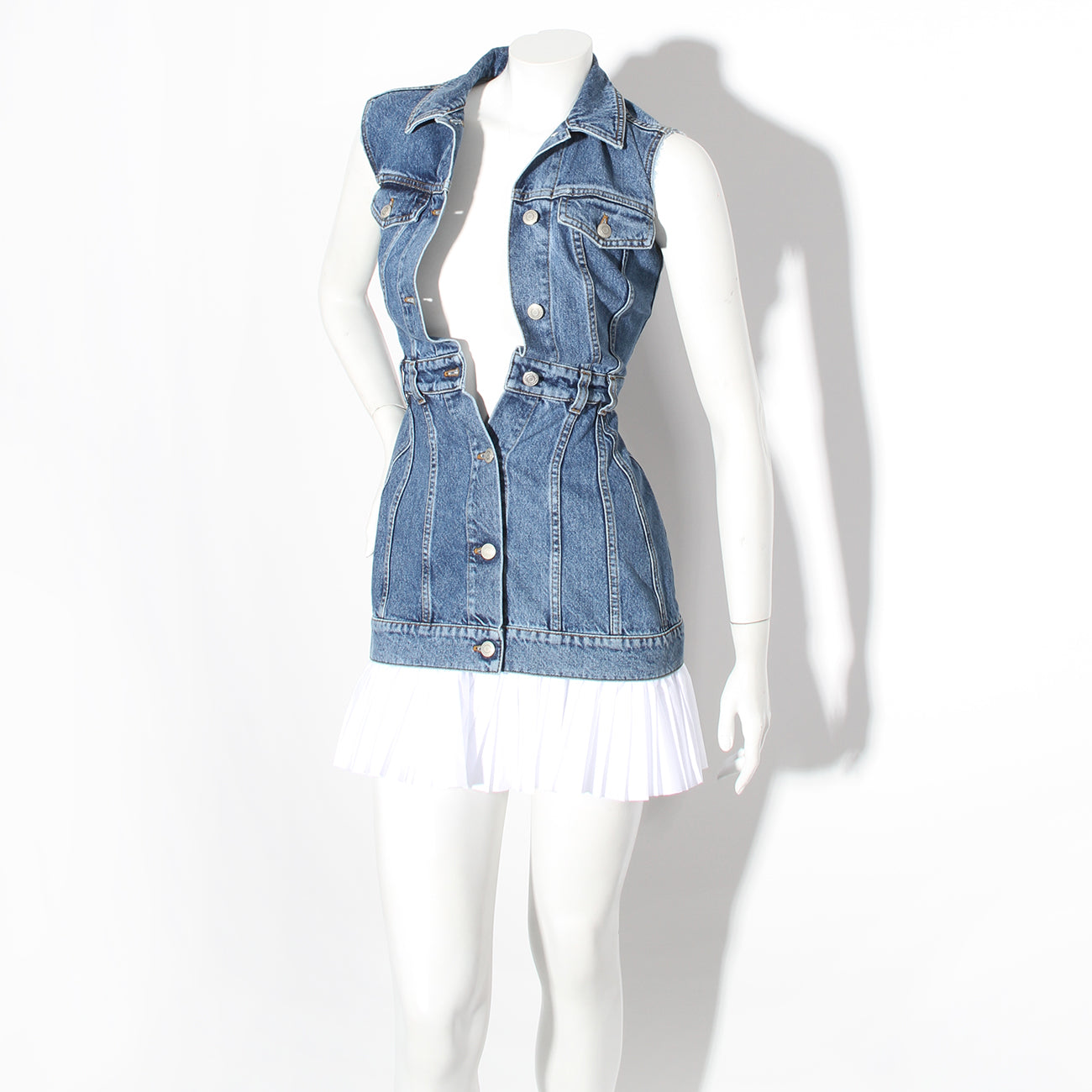 McQueen Denim Dress with White Trim
