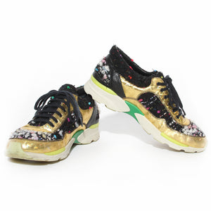 Chanel Tweed and Metallic Leather Sneakers