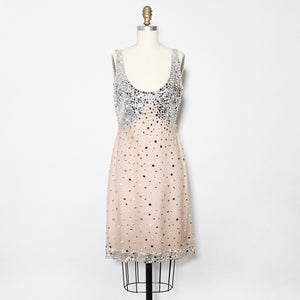 CD Greene Nude Crystal Mini Dress
