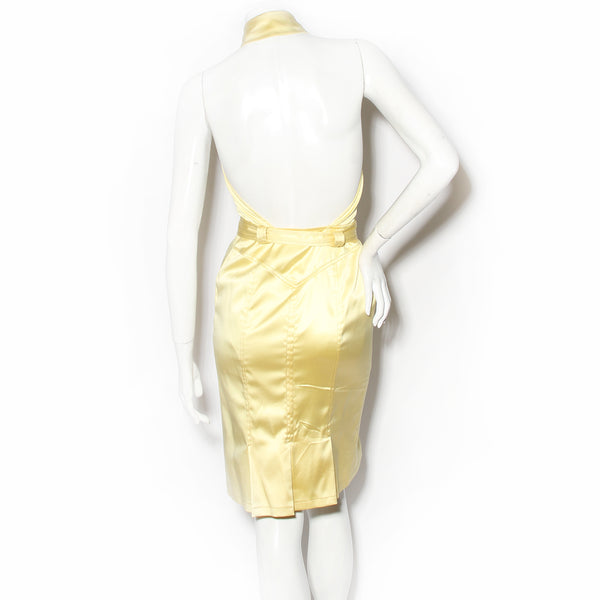 Versace Yellow Satin Halter Dress with Collar and Medusa Belt Buckle SS2005