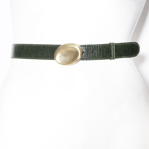 Gucci Green Leather Modernist Oval Buckle Belt