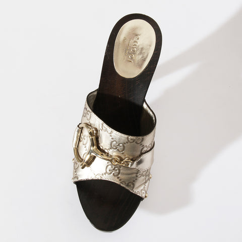 Gucci Metallic Horsebit Wooden Mules