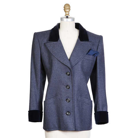 Haute Couture Wool Blazer with Velvet