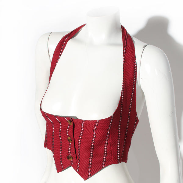 Jean Paul Gaultier Red and Black Geometric Vest