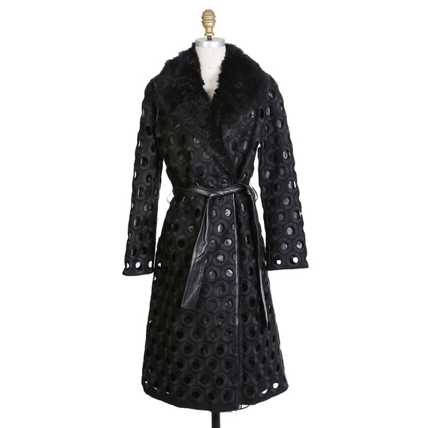 Wool Coat with Circular Cut-Outs and Faux Fur Collar