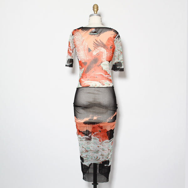 JPG Koi Fish Mesh Tie Dress