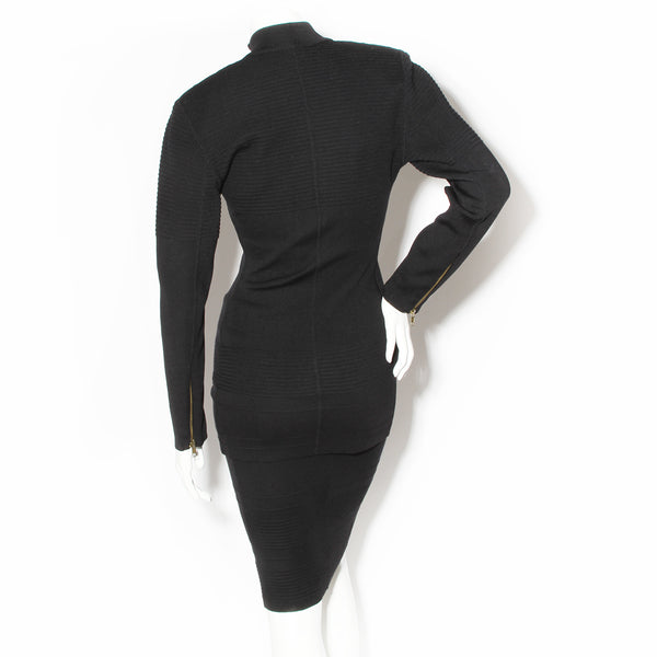 Azzedine Alaïa Black Ribbed Knit Skirt and Top Set