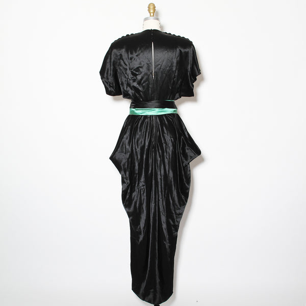 Adrian 1940's Black Satin Gown With Belt