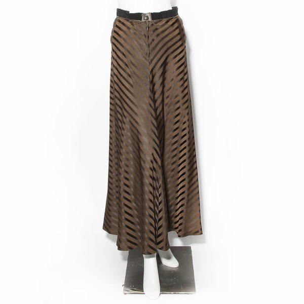 Jean Paul Gaultier Brown Satin Chevron Maxi Skirt