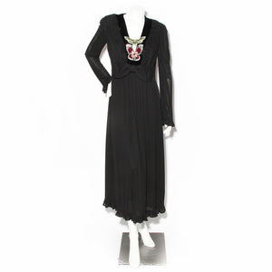 Gucci Black Silk Crepe Gown with Velvet and Crystal Butterfly Details