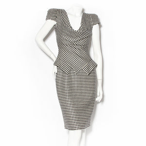 Alexander McQueen Black & White Houndstooth Dress FW2009