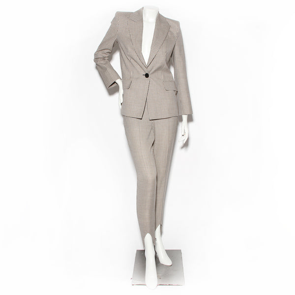 Givenchy Micro Check Pant Suit with Stirrup Detail