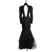 Black Ruched Tulle Gown