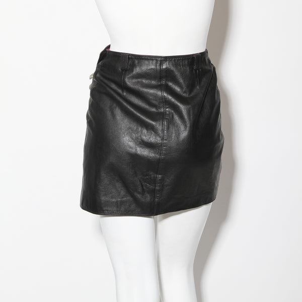 Vintage Versace Leather Safety Pin Skirt