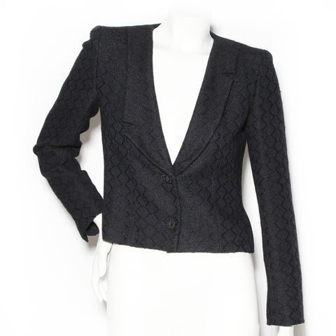 Chanel Navy Blue Wool Tweed Crop Jacket