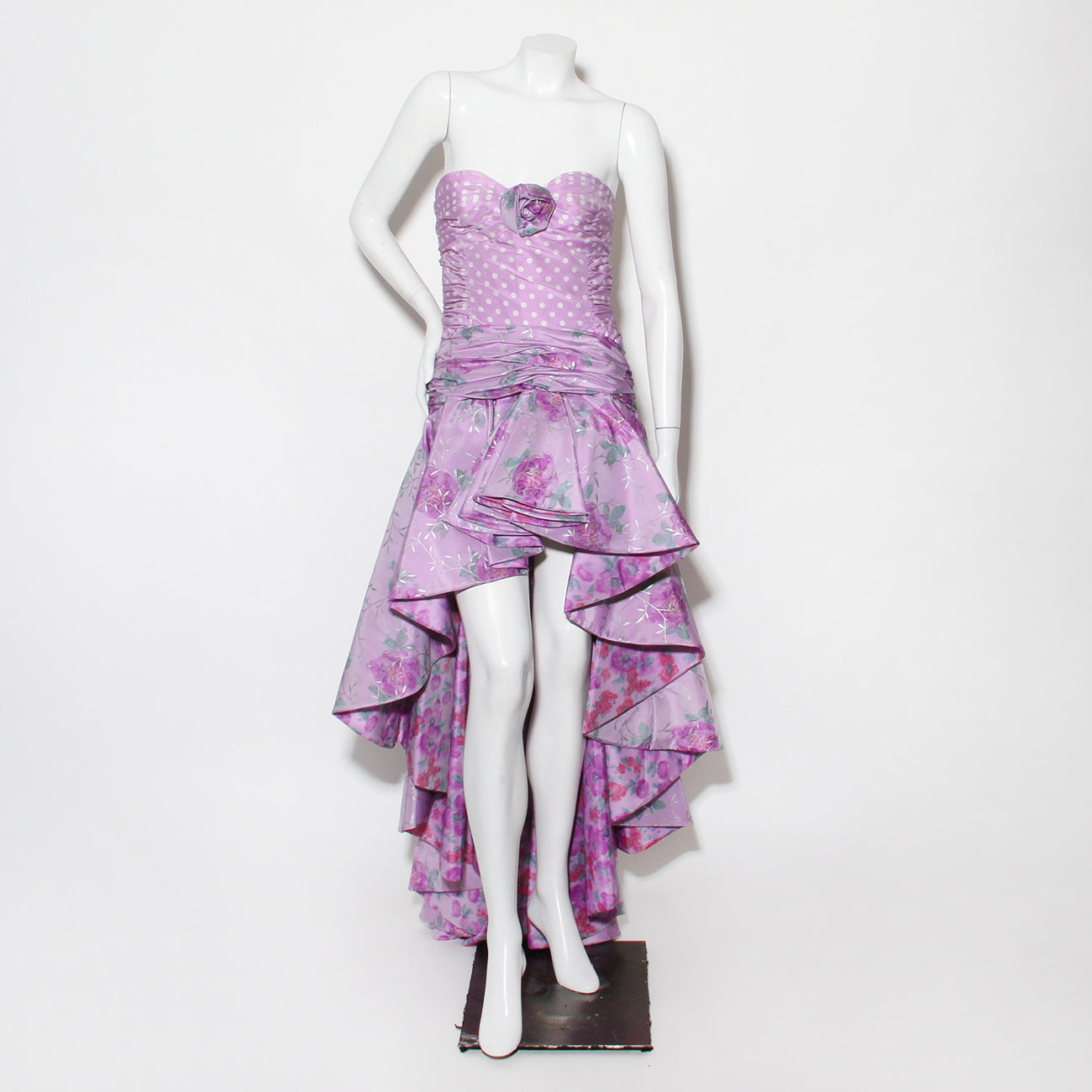 Vintage Ungaro Violet High/Low Polka Dot Gown
