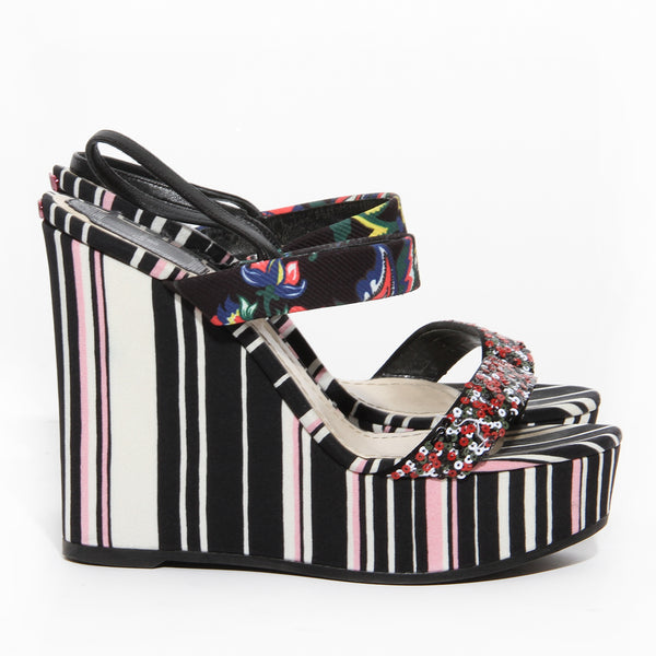 Dior Striped Sequin Wedge