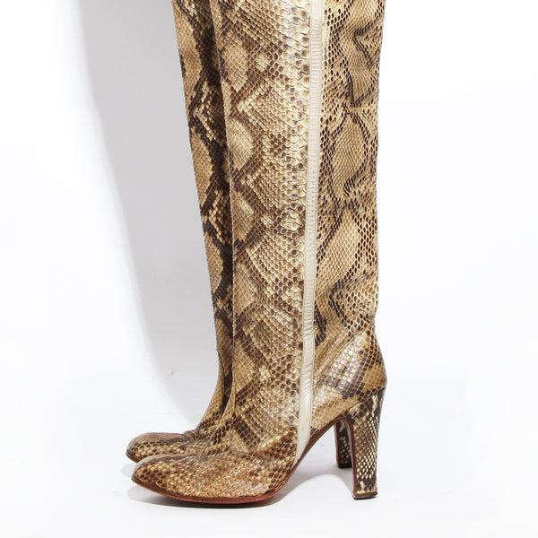 Di Fabrizio Snakeskin Knee High Boot