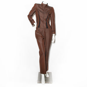 Thierry Mugler Brown Pantsuit with Black Dart Details