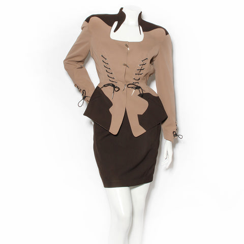Thierry Mugler Brown Skirt Suit with Lace-Up Details SS1992