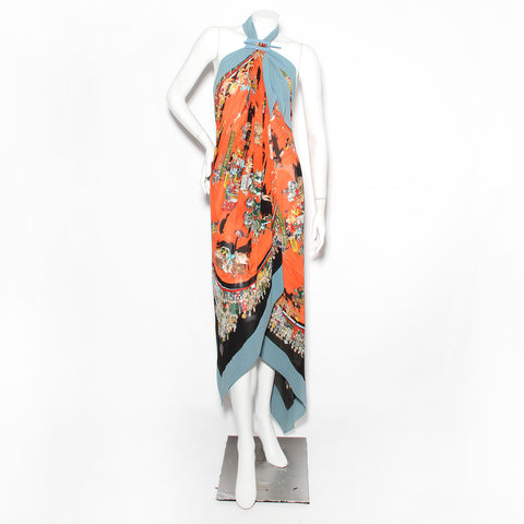 Hermes Silk Cirque Molier Halter Dress
