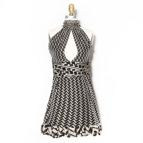 Gucci Black and Grey Zig Zag Print Halter Top SS2006