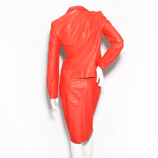 Brioni Leather Skirt Suit