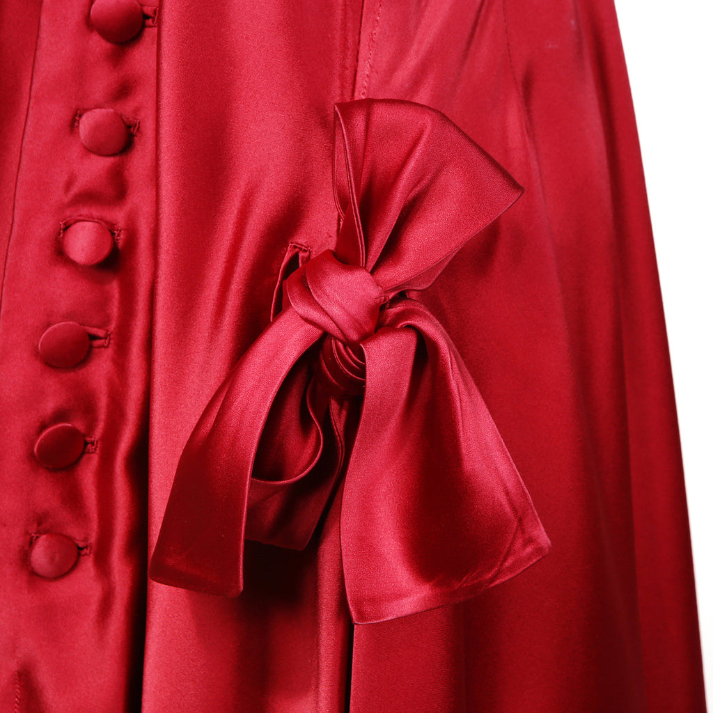 Satin Ball Gown with Button and Bow Detailing circa 1950s