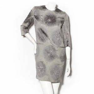 Yves Saint Laurent Grey Shift Dress with Crinkle Detail