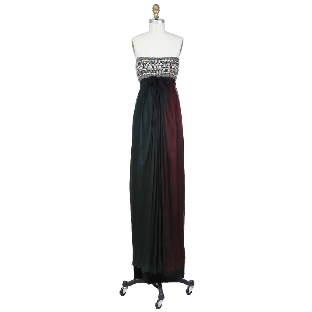 Beaded Layered Chiffon Gown circa 1980s