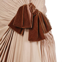 HAUTE COUTURE MOCHA CHIFFON AND VELVET GOWN circa 1950s