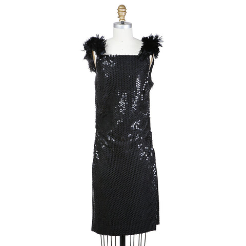 SEQUIN SHIFT DRESS with Detachable Feather Straps circa 1970s