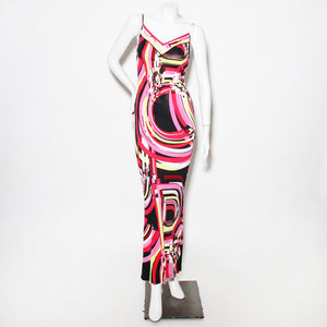 Pucci Pink/Yellow Printed Maxi Dress
